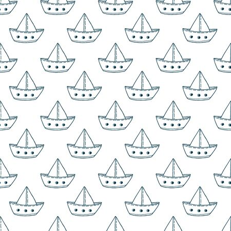 Paper ships seamless pattern. Repeat vector background for baby boy fabric. Linear ships pattern for textile design. Minimal nautical illustration