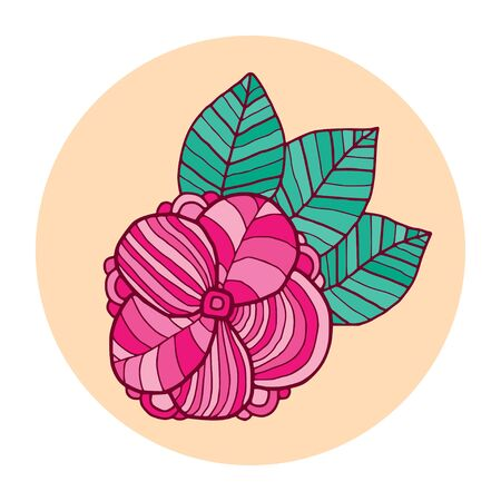 Doodle flower illustration. T-shirt print design. Label or pin flower in pink and green colors Illustration