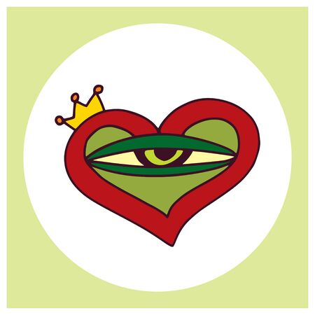 Princess frog eye in heart. Vector childish print or label design