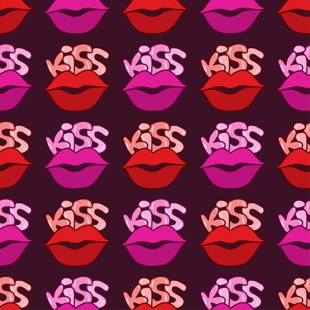 Kisses seamless pattern. Glamour background with red lips. Romantic kisses pattern for textile design