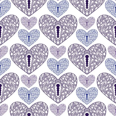 Ornamental hearts seamless pattern. Background for valentines day design. Pattern textile print with purple hearts Illusztráció