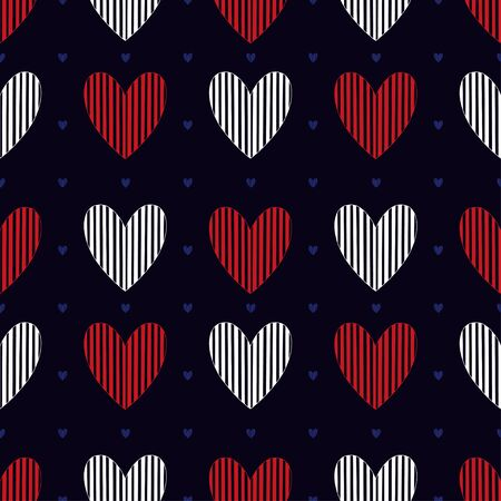 Simple hearts seamless pattern.Background for Valentines day design. Pattern textile print with red heart