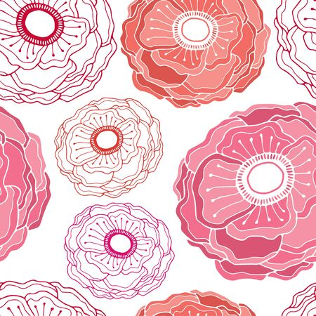 Anemone flowers pattern. Repeating floral background. Seamless pattern textile design. Delicate flowers print for linen fabric