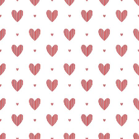 Simplicity hearts seamless pattern. Background for valentines day design. Pattern textile print with red hearts Illusztráció