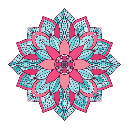 Ornamental Floral Mandala. Carpet ornament pattern. Interior mandala print in turquoise and pink colors. Bright decorative design