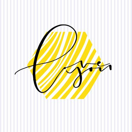 Love you modern calligraphy on modern yellow background. Wedding invitation print. Greeting card design. Poster for valentine day Иллюстрация