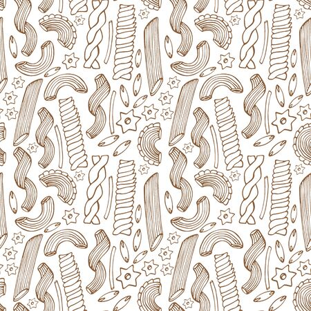 Pasta seamless pattern. Outline sketched background with different types of pasta. Italian food for menu design