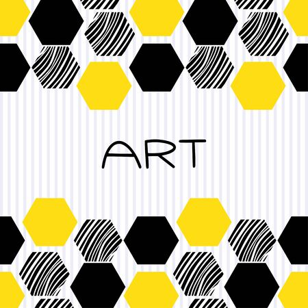 Honeycomb pattern background. Modern banner decoration in black and yellow colors