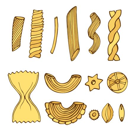 Different types of pasta. Isolated italian food for menu design. Pasta Sketched pack illustration