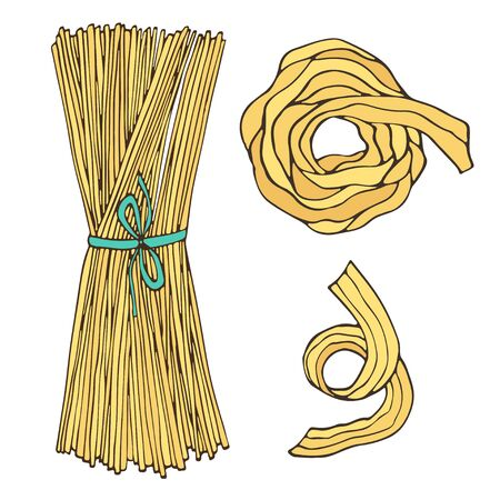 Spaghetti isolated italian food for menu design. Pasta vector illustration
