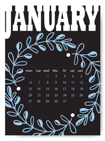 January calendar design template. Creative calendar for January month Ilustrace