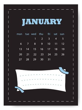 January calendar template. Simple calendar for January month with note sticker