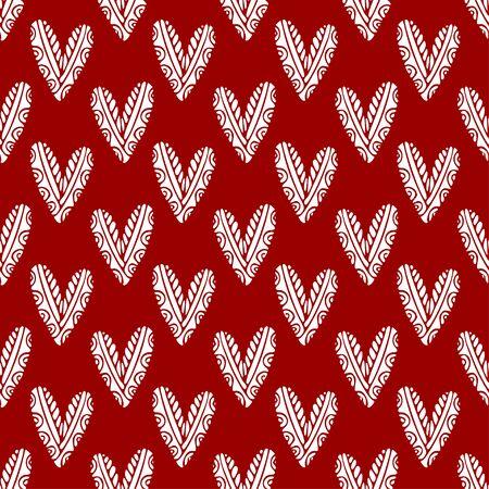 Einfachheit Herzen nahtlose Muster. Roter Hintergrund für Valentinstag-Design. Druckbares Textilmuster Vektorgrafik