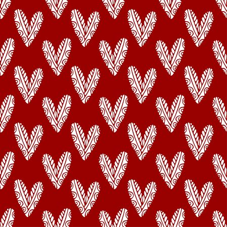 Simplicity hearts seamless pattern. Red background for valentines day design. Printable textile pattern Vettoriali