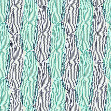 Seamless feathers pattern. Turquoise and blue texture for wrapping or textile Çizim