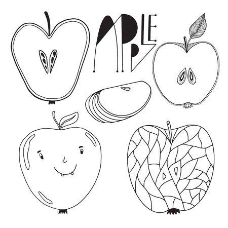Pack of apple fruits. Outline illustrated apples . Coloring book page.