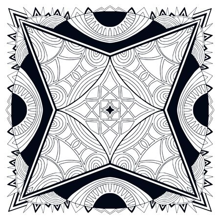 Printable shawl pattern. Black and white background. Template for textile. Ornamental square pattern with ethic art