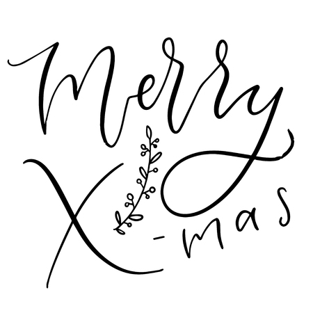 Handwritten greeting card. Printable Merry X-mas text. Calligraphic Christmas poster