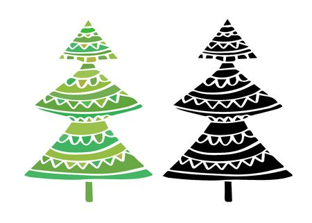 New year trees in color and silhouette. Pin and stickers design. Fir trees decoration for Christmas winter holidays