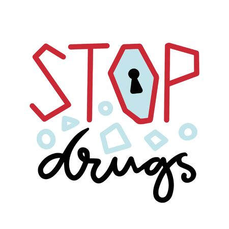 Stop Drugs icon. Anti drug concept. Conceptual printable vector banner or poster Çizim