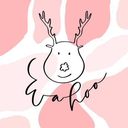 Wahoo New year card with deer. Wahoo is Hawaiian islands. Handwritten greeting card. Calligraphic vector poster