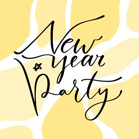 New Year party card. Holiday typographic icon. Printable calligraphic poster Çizim