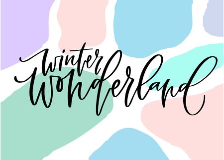 Winter wonderland card on coloured background. Printable calligraphic poster