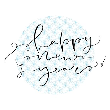 Happy New Year. Holidays typographic card. Printable calligraphic poster