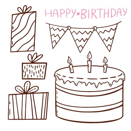 Birthday illustrated outline elements. Presents and cake. Greeting card decoration for birthday. Coloring book decorations Illusztráció