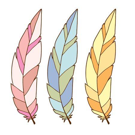 Colorful stylized feathers. Interior printable art. Minimalism feather design. Poster or temporary tattoo Illusztráció