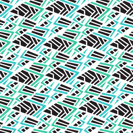 Geometric seamless pattern. Printable textile design in green blue and black colors