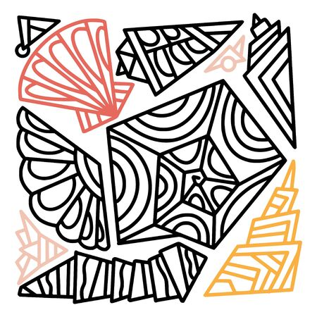 Sea shells abstract shapes. Linear elements for summer decoration. Temporary tattoo design