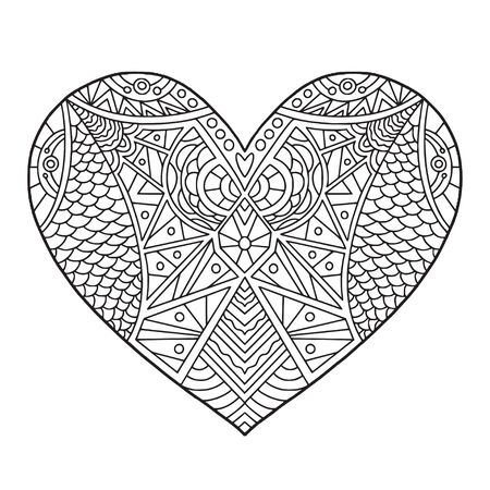Heart doodle illustration. Coloring book page