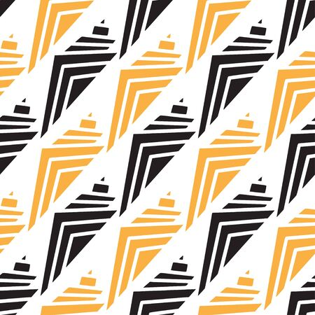Shells pattern in geometrical style. Modern textile design in black and yellow colors 일러스트