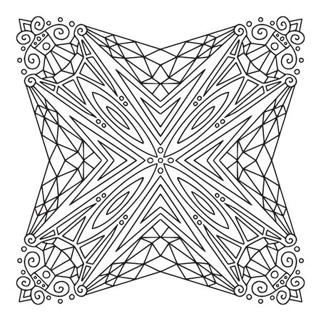 Ornamental Mandala. Linear ornament pattern. Coloring book page