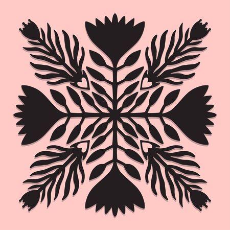 Floral pattern tile. Interior poster design