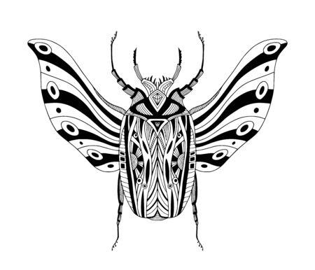 Beetle tattoo art. Scarab vector print. T-shirt. Poster 向量圖像