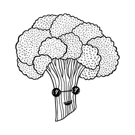 Funny broccoli cartoon character. Vegetarian food Illustration