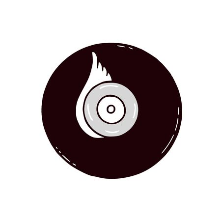 Vinyl disc illustration. Vector musical emblem