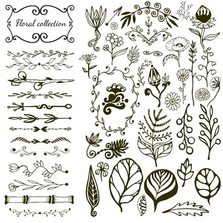 Hand drawn floral big set with wild flowers, leaves, swirls, border. Vector with nature elements collection for design decoration Vettoriali