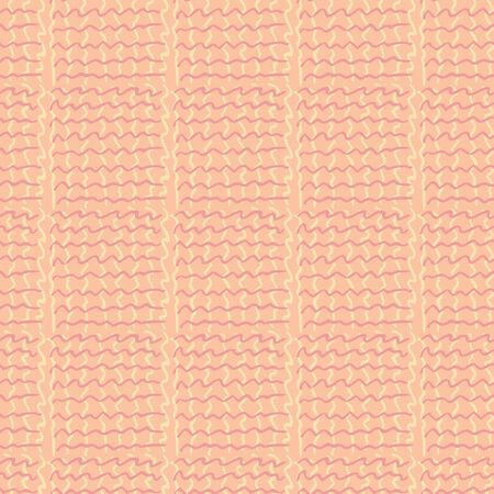 Retro pattern with seamless knit ornament. Repeating background for textile design in orange colors. Rustic pattern in old-fashioned style with wavy stripes ornament
