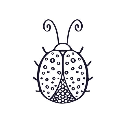 Ladybug outline icon. Printable t-shirt design. Logo or poster. Tattoo illustration with hand drawn insect. Fine art interior print with ladybird line art
