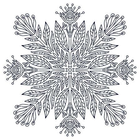 Mandala art design. Coloring book page. Hand drawn mandala for interior print. Black and white illustration Stock Vector - 149616093