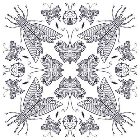 Ornamental Mandala with cute insects. Childish interior print design. Colouring book page for adults and kids. Black and white butterflies, moth and ladybugs