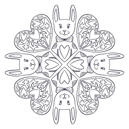 Ornamental Mandala with cute rabbits and hearts. Valentines or wedding day design. Childish interior print. Colouring book page. Black and white linear mandala pattern Banque d'images - 149594489