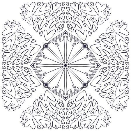 Ornamental Mandala with little hearts. Valentines or wedding day design. Love interior print. Colouring book page. Black and white line mandala pattern