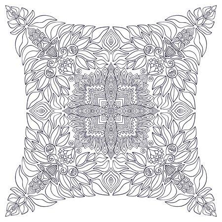 Ornamental Mandala. Neckwear fabric design. Elegant ornament pattern. Colouring book page. Carpet mandala print