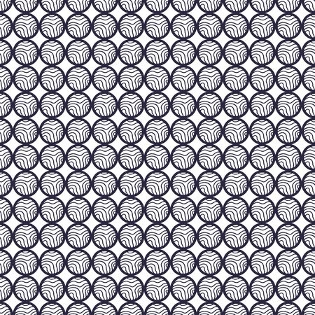 Seamless pattern with linear circles ornament. Background for fabric or web wallpaper. Repeating pattern in decorative style. Textile design for clothes and linen. Black and white retro circles print Illustration