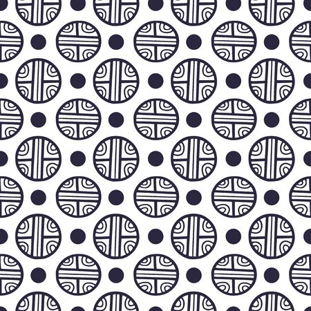 Seamless pattern with circles ornament. Background for fabric or wallpaper. Repeating pattern in decorative style with cute dots. Textile design for clothes and linen. Black and white