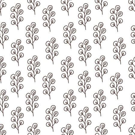 Floral seamless background. Vector pattern design. Rustic leaves pattern. Textile and linen design with black and white nature